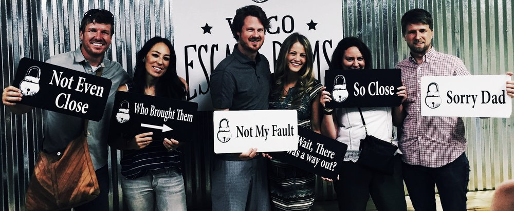 Chip and Joanna Gaines at Waco Escape Rooms